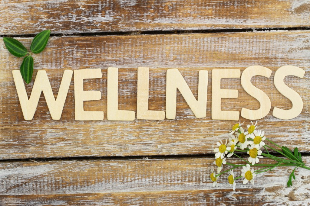 Wellness written with wooden letters, chamomile flowers on wood